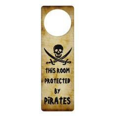 Black Jolly Roger Pirate Door Sign Door Hangers by Pirate Loot. ARRRR me hearties!