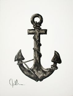An Anchor Black and White Watercolor 12x16 by PenguinBear