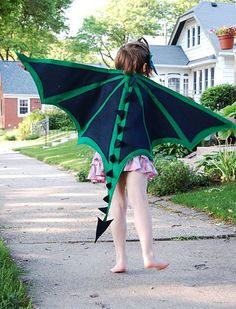 Handmade felt dragon wings and mask set child by Flyingoxcreations