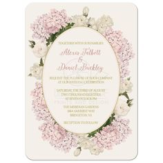 Blush pink and gold wedding invitations pink hydrangeas and cream peonies