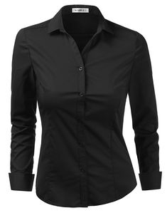 ed732aa1485 Womens Basic Stretchy Cotton Button Down Shirts With Plus Size -  Cwtdsl01 black - CA180Z32UMI