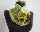 felted green autumn collar scarf
