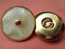 8 METALLKNÖPFE gold weiss 21mm (5912)Knöpfe Metall