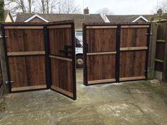 Bi Folding Gate Installation - http://www.oakfielduk.co.uk/projects/bi-folding-gates-kent/