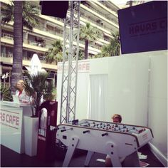 Great set up of this year- come play some fooseball with us ; Cannes, Suitcase, Play, Briefcase