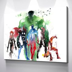 Marvel Super Heroes Avengers - Canvas Wall Art Framed Print Poster - Various Sizes - 1 Panel 24x12 / Gallery Wrap