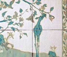 Mel Griffin, deer on stilts, detail of large tile installation www.melgriffin.com