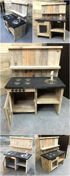 pallets mud kitchen for kids I like the painted shelf for un… - Pallet Furniture Ideas Outdoor Play Kitchen, Mud Kitchen For Kids, Kids Outdoor Play, Outdoor Kitchen Design, Diy Mud Kitchen, Repurposed Furniture, Pallet Furniture, Woodworking Projects For Kids, Built In Grill