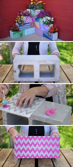 Make your own inexpensive, colorful, modern and fully customizable DIY outdoor planter perfect for succulents, using cinder blocks, stencils, paint and plants.