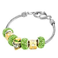 22 K Golden Plated St Patrick Peridot Green Crystal Heart Lobster Clasp Fit Beaded Bracelet All Brands