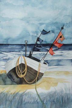 Schiffe und Boote als Aquarell | Die Fischer haben Feierabend (c) Aquarell von Frank Koebsch