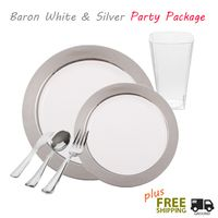 china like disposable plates with silver rim party package