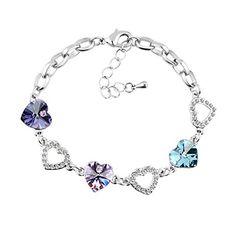 Le Premium® Kleeblatt Kristall Charme Armbänder herzförmigen Swarovski Tansanit lila, violett,und Aquamarine kristalle