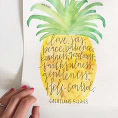 Custom, watercolor, pineapple, fruit of the Spirit prints available- Hand-painted and hand-lettered bible verse print on 9x12 sheet of medium