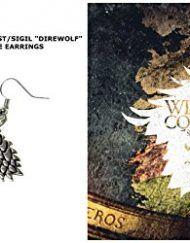 Game-of-Thrones-House-Stark-Direwolf-Sigil-MovieTV-Theme-Silvertone-Dangle-Earrings-WGift-Box-0