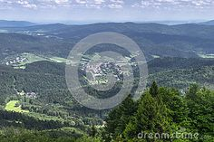 Landscapes from Jaworzyna Krynicka Mountains in Poland in the summer.