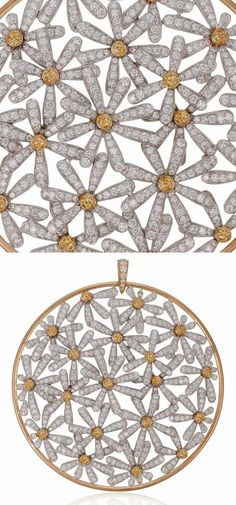 This flower pendant by Michele della Valle features bright yellow sapphire and diamond flowers. Ruby Beads, Agate Beads, Cherry Earrings, Diamond Flower, Happy Colors, Flower Pendant, Purple Amethyst, 18k Rose Gold, Round Diamonds