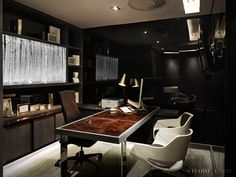 Studio A Signature Projects / Johannesburg, South Africa. Home Office Furniture Sets, Home Office Desks, Modern Furniture, Modern Office Decor, Office Ideas, Office Designs, Luxury Office, Mid Century Modern Lighting, Doctor Office