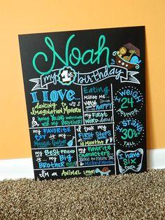 Hand Painted Birthday Chalkboard Birthday Sign, Noah's Ark Theme by… 1st Birthday Signs, Twin First Birthday, First Birthday Photos, Birthday Board, Birthday Fun, First Birthday Parties, First Birthdays, Birthday Ideas, Noahs Ark Party