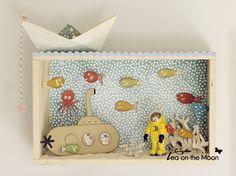 Diorama en caja de madera: En el fondo del mar - Tea on the moon