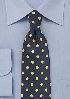 Krawatte grob tupfengemustert blauschwarz goldgelb