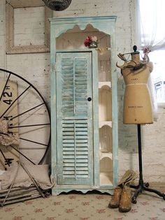 Painted Cottage Chic Shabby Aqua Handmade Farmhouse Cabinet CC317