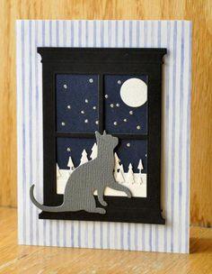 Accessories: Memory Box cat and window, poppy stamps Pine Tree Border 809, Spellbinders classic circle die, Marvy Wet Looks embossing marker, silver embossing powder