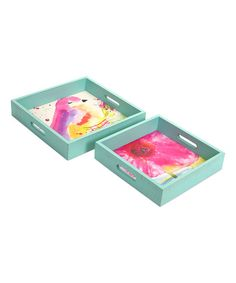 The Melrose International Bird and Flower Decorative Tray - Set of 2 is sure to brighten up any room with two darling designs featuring a cheerful bird. Round Wood Coffee Table, Coffee Table Tray, Mirror Vanity Tray, Metal Mirror, Melrose International, Marble Tray, Square Tray, Teal Flowers, Flower Bird