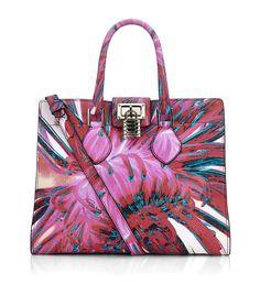 Roberto Cavalli Medium Florance Bag with Floral Print in Purple (floral)
