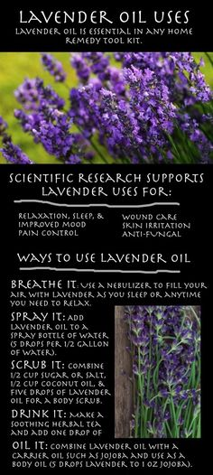 Lavender Oil Uses (2-3 drops in each shoe for a calmer day; 2-3 drops on pillow for sweet dreams)