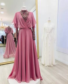 I think this is such a fun dress & it's great that it also has this air of intelligence & almost gives off this princessy vibe which I'm not usually all for but i really like in this piece Abaya Fashion, Muslim Fashion, Modest Fashion, Fashion Dresses, Women's Fashion, Indian Designer Outfits, Designer Dresses, Bridesmaid Dresses, Prom Dresses