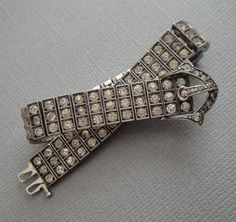 Vintage Sterling Bracelet Art Deco Diamondbar by EyeCandyAntiques, $199.00