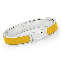 Hermes Enamel Clic H Narrow Bracelet Yellow/Silver