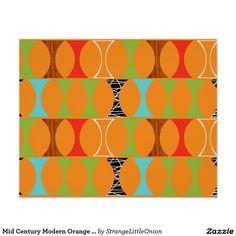 Mid Century Modern Orange Pattern Poster