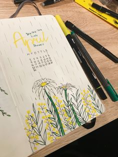 April 2018 bullet journal spread