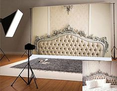 Microfiber Yellow Headboards for Bedrooms Photography Backdrops White Chandelier No Wrinkles Seamless Backdrop for Children Photo Studio Background Bedroom Photography, Chair Photography, Photography Backdrops, Photography Ideas, Grey Wooden Floor, Wood Floor, Yellow Headboard, Christmas Backdrops, White Brick Walls