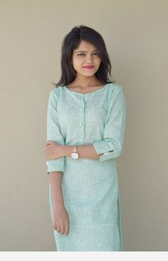 Online Shopping India - Buy Kurtis, Tops, Dresses, Shirts & Fashion For Women Green Elegance my way Kurti Plain Kurti Designs, Simple Kurta Designs, Salwar Neck Designs, New Kurti Designs, Churidar Designs, Kurta Neck Design, Dress Neck Designs, Kurta Designs Women, Kurti Designs Party Wear