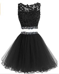 Prom Dresses Two Pieces Short Beaded Party Dresses Tulle Applique Homecoming Dress - Homecoming Dresses Two Piece Homecoming Dress, Blue Homecoming Dresses, Prom Dresses Two Piece, Cute Prom Dresses, Grad Dresses, Pretty Dresses, Prom Gowns, Beaded Dresses, Beaded Gown