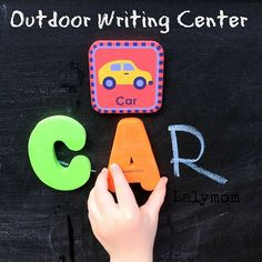 Summer Writing Activities for Kids - Make an Easy Outdoor Writing Center for Preschoolers. Great for Kindergarten Readiness from Lalymom Fun Writing Activities, Motor Skills Activities, Phonics Activities, Activities For Kids, Kindergarten Readiness, Preschool Literacy, Writing Area, Cool Writing, Learning Cards