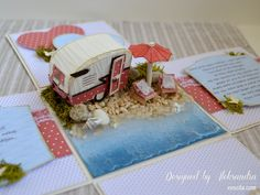 Wedding exploding box with trailer home at the beach.
