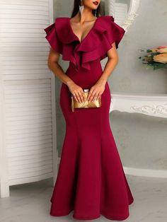 Silhouette: Mermaid Dress Length: Floor-Length Sleeve Length: Cap Sleeve Sleeve Type: Ruffle Sleeve Neckline: V-Neck. Elegant Dresses, Sexy Dresses, Evening Dresses, Dresses With Sleeves, Formal Dresses, Sleeve Dresses, Cap Sleeves, Plain Prom Dresses, Club Dresses