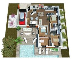 ouleurs Villa offers the Villa Mae, modern, contemporary this house is . Villa Plan, Villa K, The Plan, How To Plan, Small House Plans, House Layouts, Architecture Plan, My Dream Home, Dream Homes