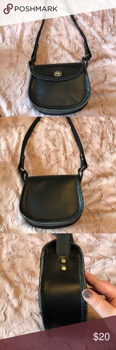 Handmade Leather Bag Handmade real black leather long strap bag. Extremely good condition! Made in Maine   8 inches by 6 inches. Bag hangs 16 inches down from shoulder. Bags Shoulder Bags