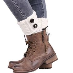 Women Winter Knitting Leg Warmers Boot Cover Keep Warm Socks Solid Color