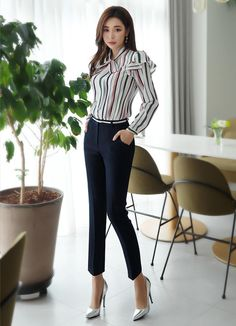 styleonme--Elastic Waist Band Slim Fit Slacks AND Pinstripe Ribbon Tie Frill 44000 44186 Stylish Work Outfits, Office Outfits Women, Business Casual Outfits, Professional Outfits, Stylish Outfits, Fashion Outfits, Women's Fashion, Fashion Videos, Fashion Stores