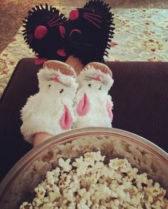 Movie night   #popcorn #bunnyslippers #liloandstitch by hillary.8.1
