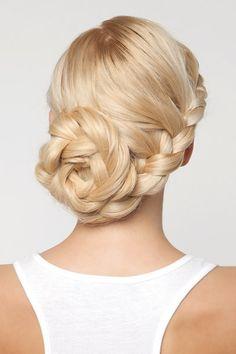 Lace french braid into a beautiful big braided bun!