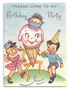 Please come to my birthday party vintage invitation. #vintage #birthday #cards