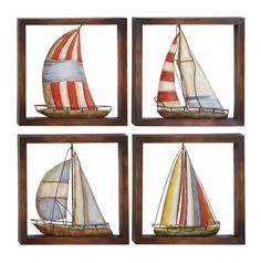 Material: Metal Weight: 8lbs. Mounting Hardware: Hanging keyholes on the left and right upper corners, on the back of the product http://www.metal-wall-art.com/sail-away-sailboat-wall-hanging.html