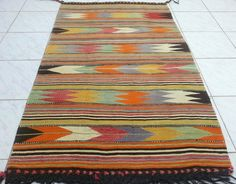 VINTAGE Handwoven Small Turkish Antique Wool Kilim by pillowsstore, $188.00